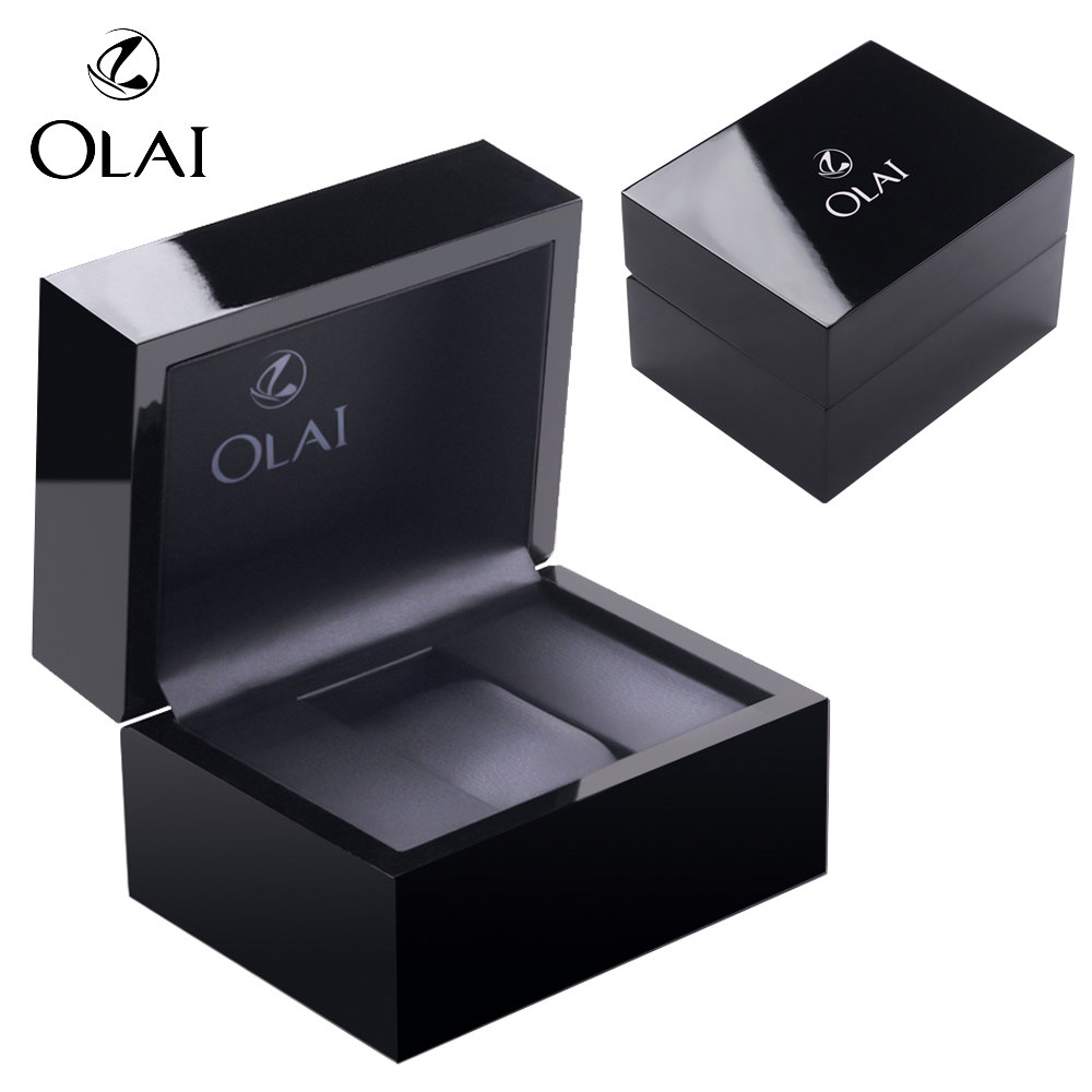 MOQ 18 PCS/ Carton,Wholesale Luxury High End Black Glossy Piano Wooden Watch Packaging Box In Stock,Custom logo Wooden Watch box