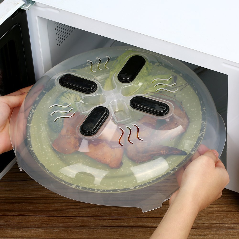 Microwave Cover Magnetic Hover Cover,Prevent Food Splatter Cover Microwave Splatter Lid with Steam Vents-11.5 inch