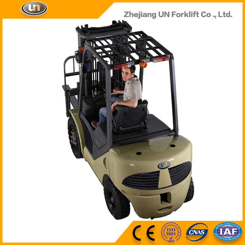 Warehouse Equipment 1.5 Ton 2-Stage Wide View Mast 3 m Transmission Small Diesel Forklift Truck