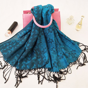 DX096 Gorgeous polyester jacquard peacock shawl flower scarf