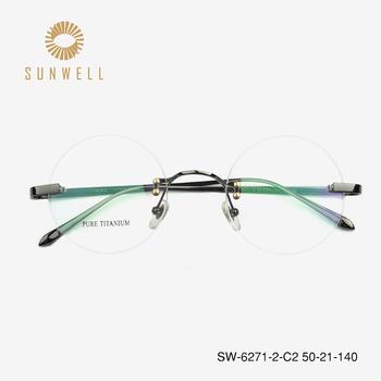 74b94e3d51 Pure titanium eyeglasses frame Rimless Glasses Frame Men women Prescription  Eyeglasses with Original Case