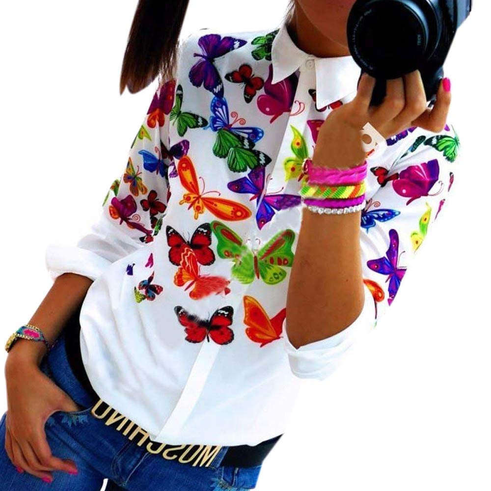 Dressin_Women's Long Sleeve Clearance!Dressin_Women's New Printed Butterfly Casual V Neck Blouse