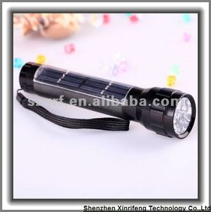 Solar energy aluminum torch flashlight with 7 LED lights