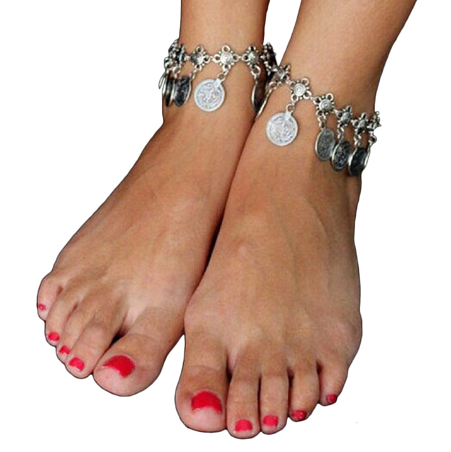 Fullkang Tribal Ethnic Coin Tassel Gypsy Festival Turkish Beach Anklet Jewelry