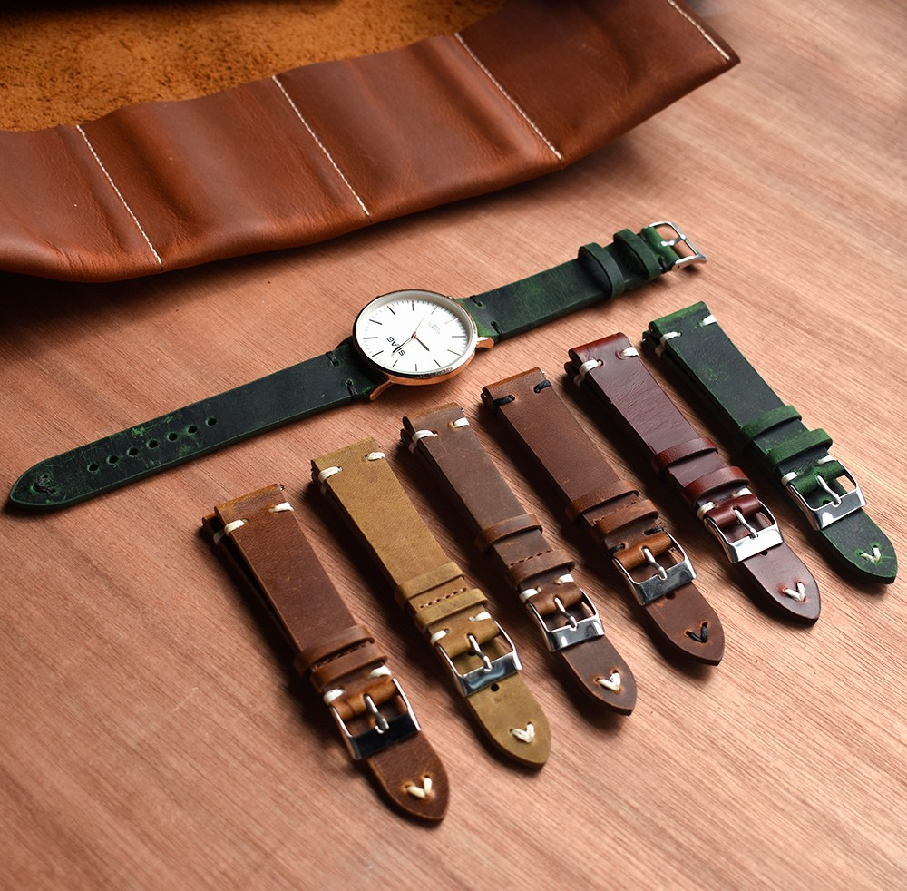 20/22mm replacement vegan leather watch band handmade quick release pin genuine leather watch strap