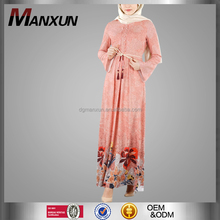 Wholesale Alibaba Butterfy Abaya Popular Fashion Casual Dresses For Fat Ladies Fashion Printing Belt Egyptian Islamic Clothing