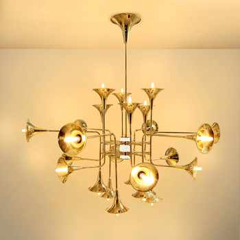 1074 Metal Trumpet Chandelier Gold Chandelier Lamp Lighting