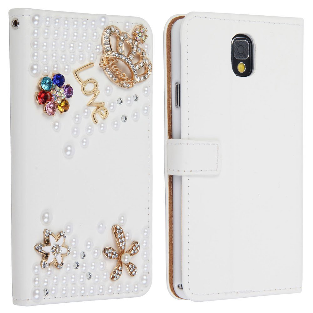 Leegoal(TM) For Samsung Galaxy Note 3 Note III N9000 Mobile Phone Case Lady Wallet case with 3D bling Rhinestone fold flip leather cover housing new designer by wellpad (golden crown and coloful flowers)
