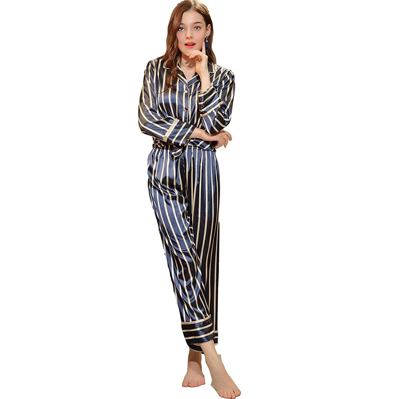 3de2e8cc498 Get Quotations · Teeker Women s Striped Long Sleeve Pajama Striped Sleepwear  Soft Loungewear Pajama SetTop and Pants Navy Blue
