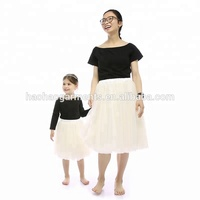 2017 Mother Daughter Off Shoulder Cotton Top and Tutu Sets ,Mommy And Me Matching boutique Outfits