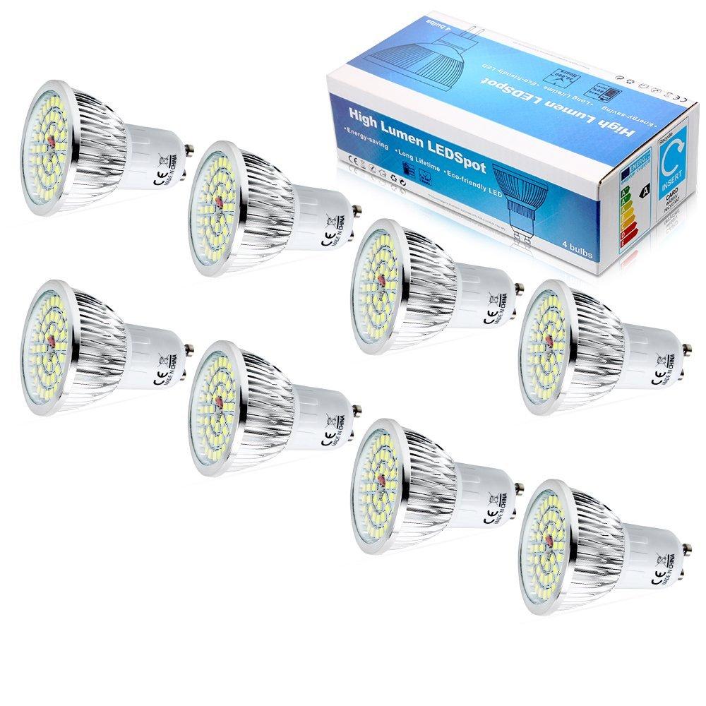 Elinkume 110V GU10 Led Light Bulb 6W, Cool White 6500k Led Lamp, Beam Angle 120 Degree Led Bulbs(8pack)