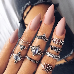 Retro Jewelry Vintage Punk Boho Beach 10 Pieces Pack Rings Set For Women Antique Silver Plated Knuckle Rings