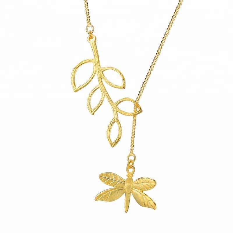 Fashion Cute Dragonfly Leaf silver long necklace фото