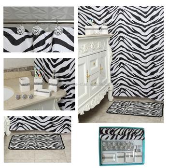 Black Zebra Shower Curtain With Bath Mat Set