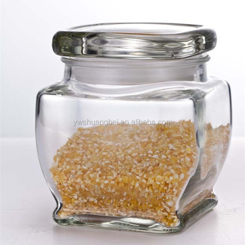 Square Glass Food/Honey/Candy Storage Jar Big Clear Glass Jar With Lid