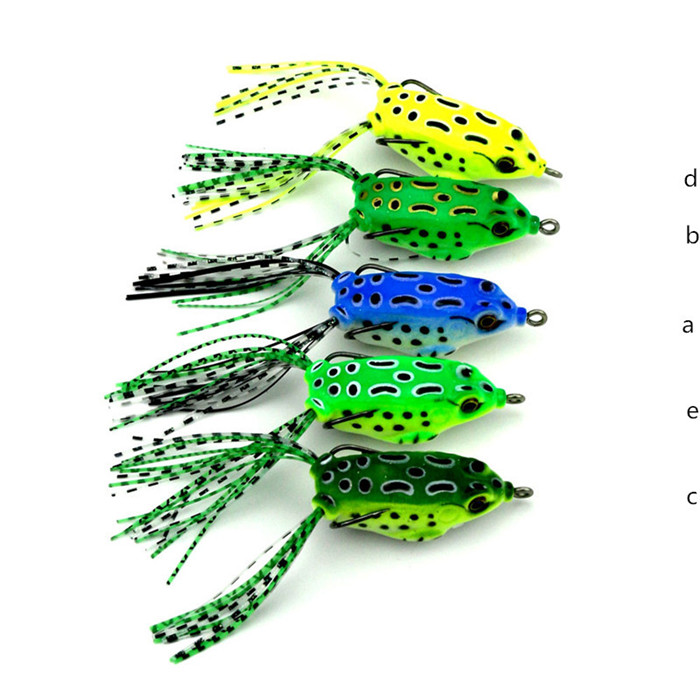 YOUME 1PC Soft Tube Bait Japan Plastic Fishing Lures Frog Lure Treble Hooks Topwater Ray Frog 5.5CM 8G Artificial Soft Bait, 5 colors