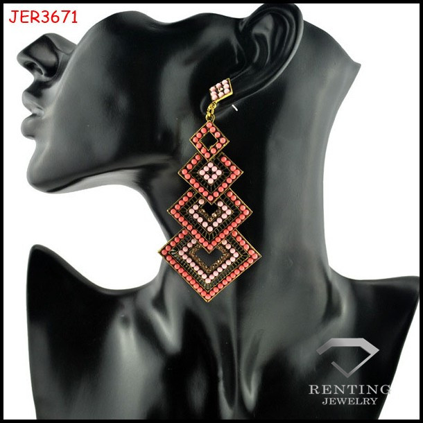 new fashion alloy vintage earrings resin seed beads earrings