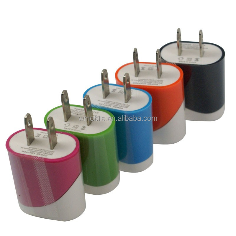 Wholesale High Quality Plating colours 5V 1A A1400 Flat USA Canada Plug USB Power Home Wall Charger For iphone 6 6 plus 6S 5 5S