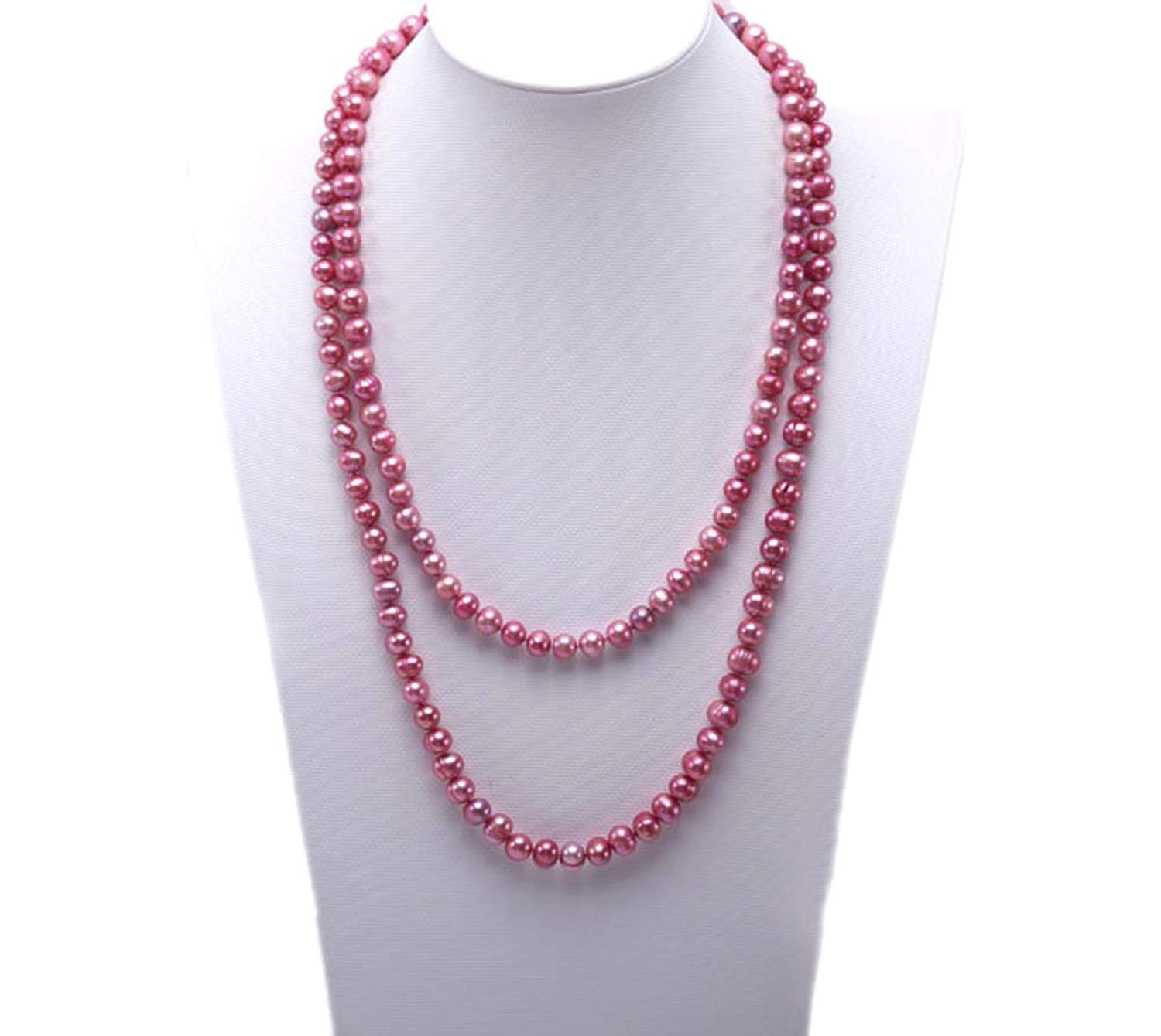 """JYX 6mm Off-round Multi-color Freshwater Cultured Pearl Necklace Sweater Necklace 45"""""""
