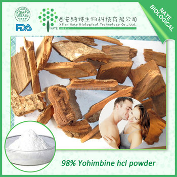 Sex drive powder material yohimbe extract 98% Yohimbine hcl powder