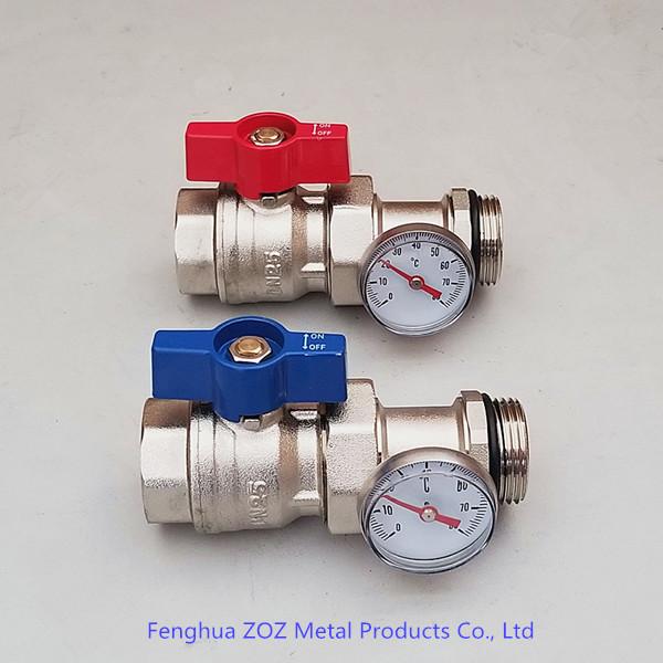 Underfloor Heating Temperature Settings: Underfloor Heating Manifold Ball Valve W/ Temperature