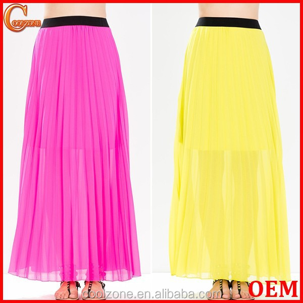 Partially lined perfect pleated long skirt sexy chiffon maxi skirts