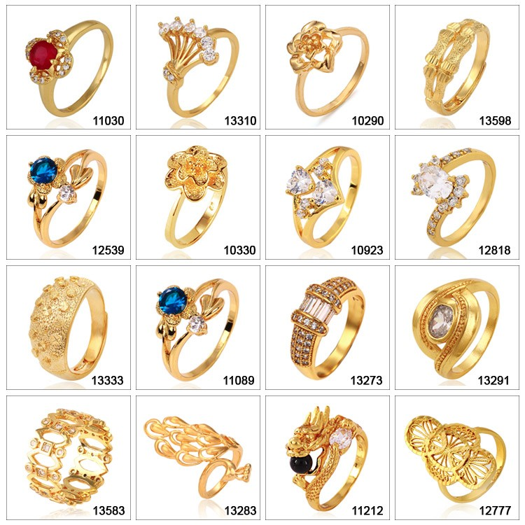 13503 Xuping China wholesale fashion jewelry gold ring designs 24K gold charm ring