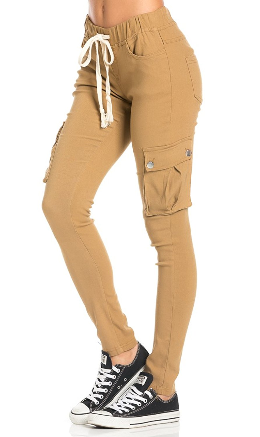 5065eceade08b Get Quotations · Drawstring Skinny Cargo Pants in Khaki