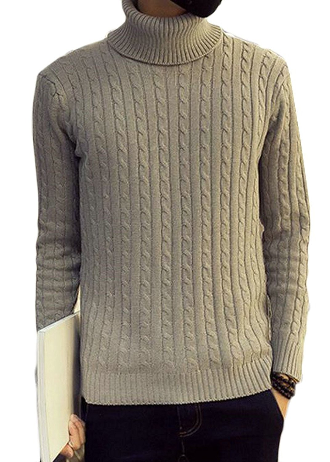WSPLYSPJY Mens Turtleneck Sweater Loose Twisted Knitted Pullover Sweaters