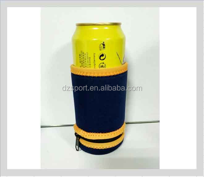 2017 Popular Neoprene can cooler with coin pouch bag Neoprene can coozie beer can holder