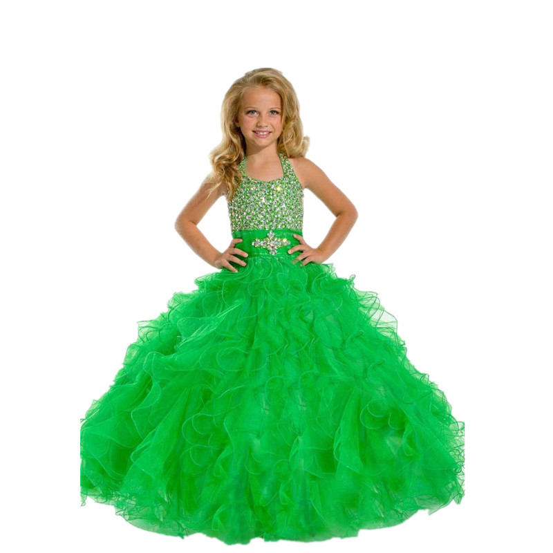 fb01263d6 Get Quotations · Green Little Kids Beauty Royal Blue Cute Halter Tulle  Ruffles Children Beaded Ball Gowns Princess Cheap