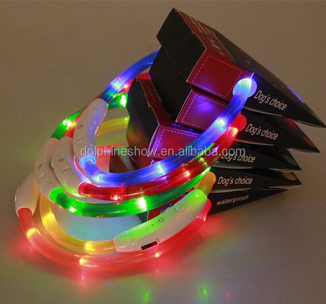 Wholesale Waterproof USB Rechargeable Soft Silicone Flashing in Dark Led Dog Collar