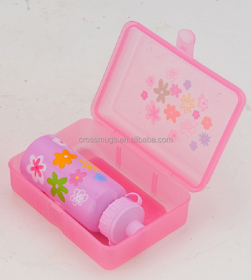 Brand new design lunch box with a drinking bottle Lovely pink