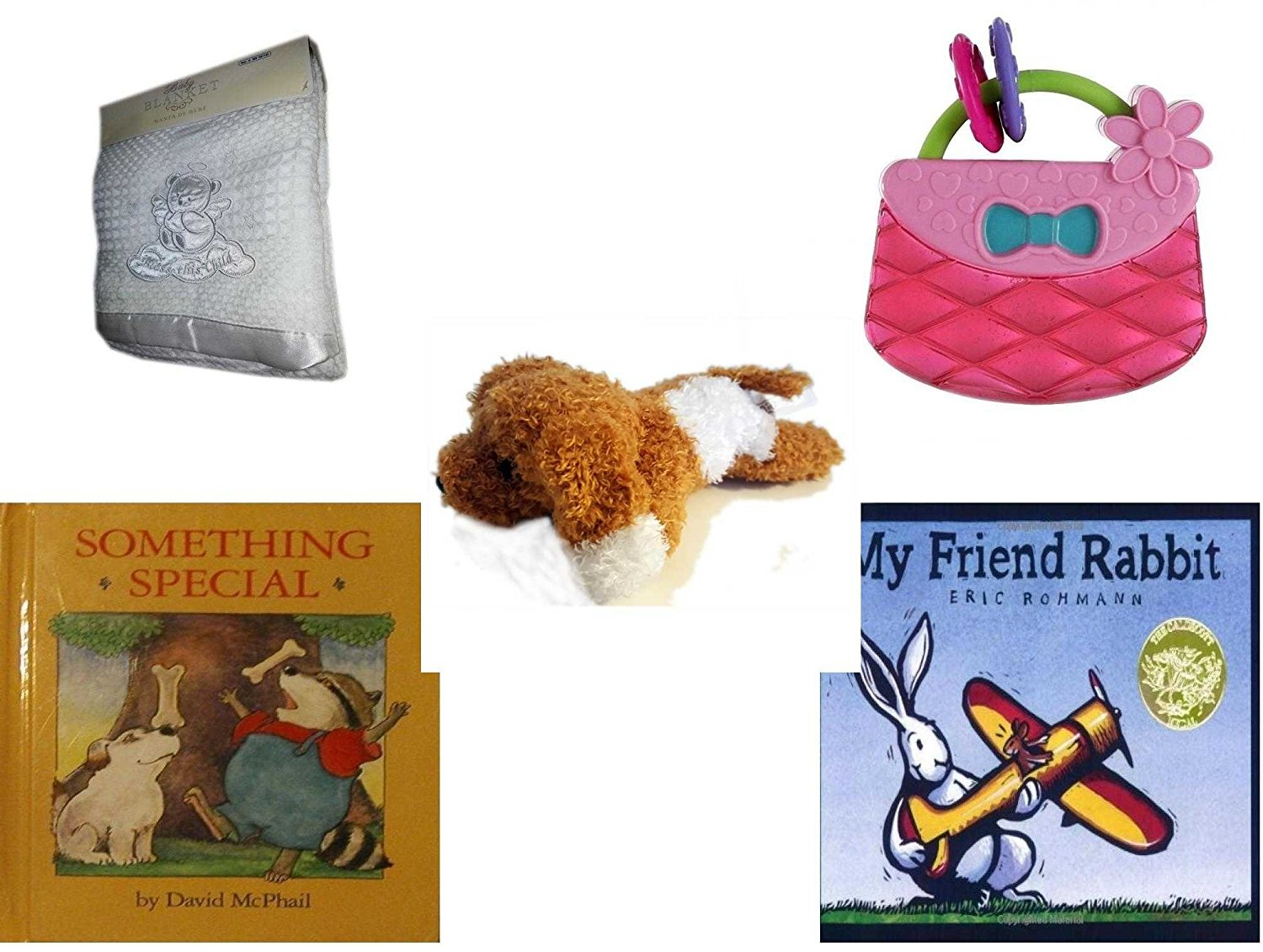 """Children's Gift Bundle - Ages 0-2 [5 Piece] - Soft White """"Bless This Child"""" Baby Blanket - Bright Starts Pretty in Pink Carry Teethe Purse - Amazimals Brown & White Puppy - Something Special - My Fr"""