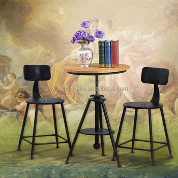 Home Furniture European Style Metal Bar Table And Chairs For Sale