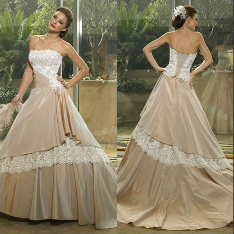 Cheap-sweetheart-lace-layer-floor-length-satin-ball-gown