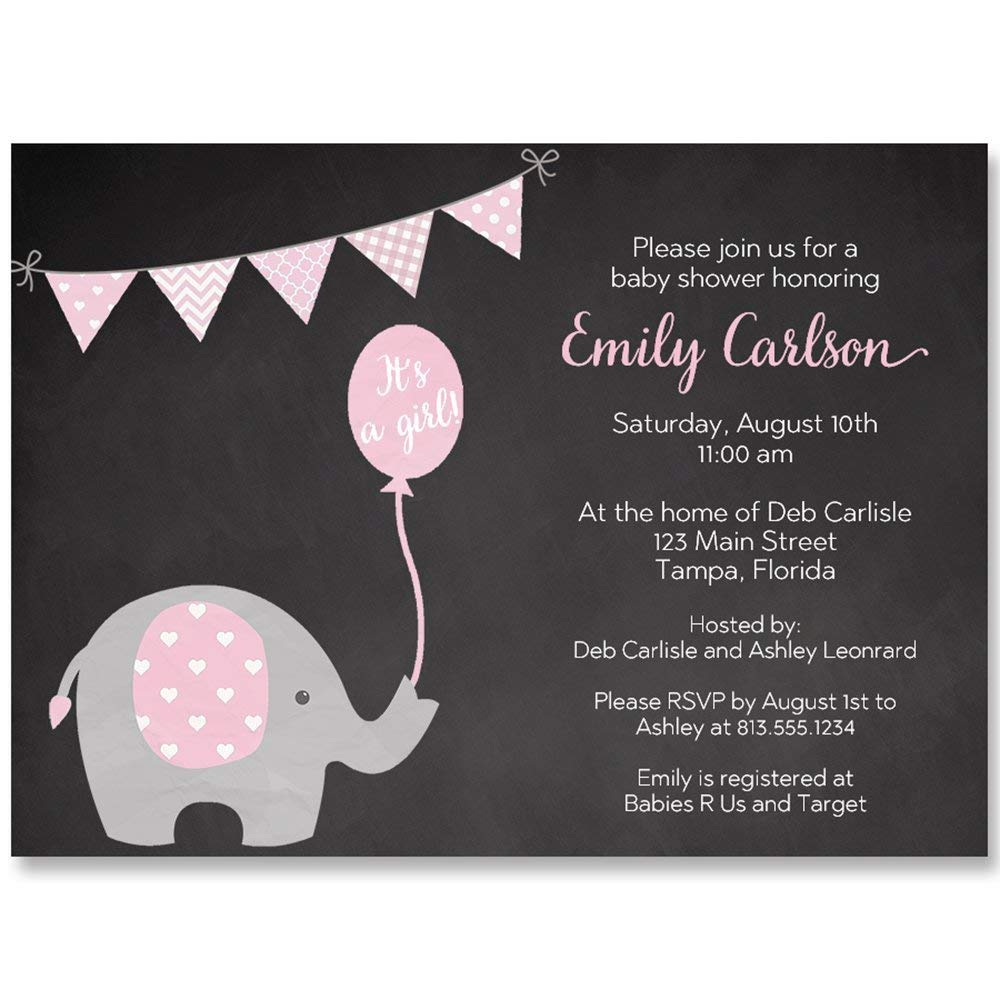 Chalkboard Elephant Baby Shower Invitation, Pink, It's A Girl, Baby Shower, New Baby, Little Peanut, Set of 10 Custom Printed Invites with Envelopes