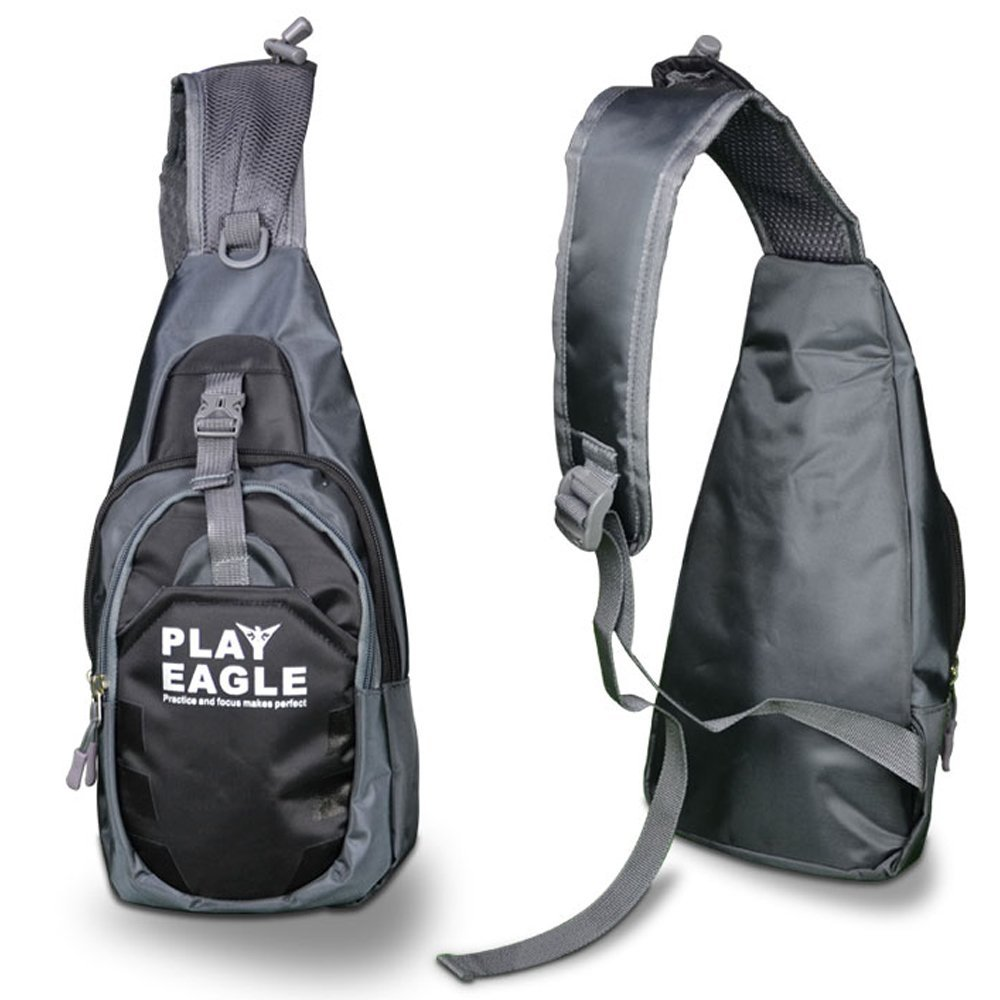 PLAYEAGLE Waterproof Nylon Shoulder Backpacks Bags Gym Sports Outdoor Chest Pack Crossbody Daypack Bag for Golf Bicycle Hiking Travel Camping Bookbag Men Women