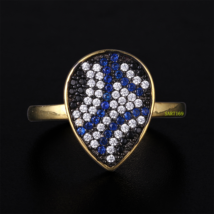 SAR7169 Gold Plated Fashion Zircon Ring With Spring Design, 2 Gram Gold Ring Design