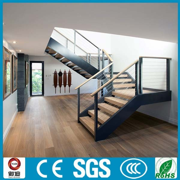Dog Legged Stair Precast Residential Staircase Wood Stairs
