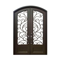 Arched wrought iron entry doors, single & double exterior iron front doors