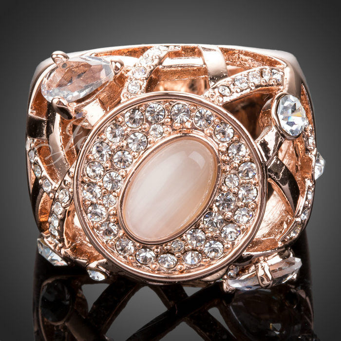 Hot Sale Fashion 18K Gold Plated Rhinestone Jewelry Rose Gold Ring XR051
