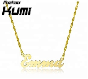 18k Gold Plated Customized Necklace Jewelry Custom Plated Silver Nameplate  Necklace