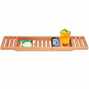 Bamboo Bathtub Caddy Bamboo Shower Bath Tub Tray Organizer., View ...