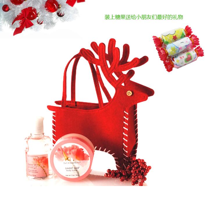 Creative 1 PC Decoration Creative Home Party Christmas Deer Bag Souvenir Candy Makeup Bag Christmas Supplies Candy Bags