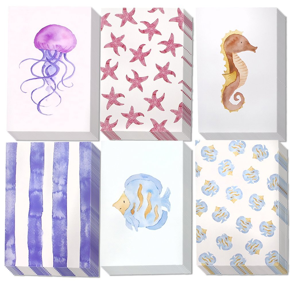 All Occasion Assorted Blank Note Cards Greeting Card Bulk Box Set, Blank on the Inside, 6 Watercolor Sea Designs