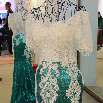 Bangkok Ls21771 Lengan Pendek Putih Dan Hijau Kristal Desain Terikat Dan Tersumbat Di Gaun Malam Sketsa Buy Bangkok Evening Dress Sketsa Terikat Dan