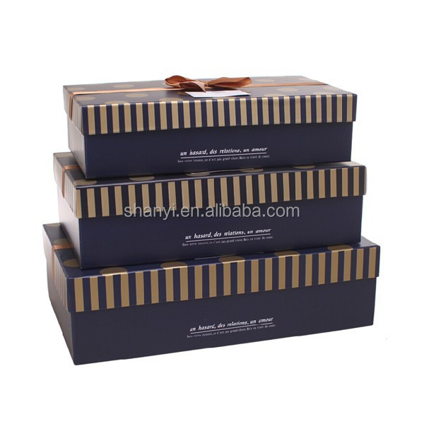 Mountain new design Black dot gold ribbon fashion shoe box