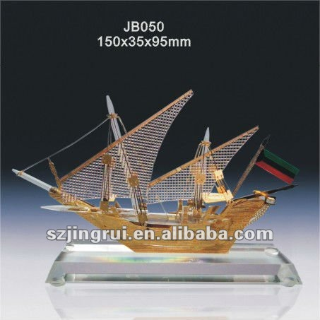 Jingrui crystal sailing boat gift souvenir with a base JB050