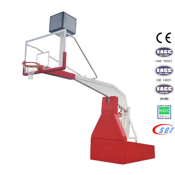 Electric hydraulic folding basketball stand base with tempered glass board